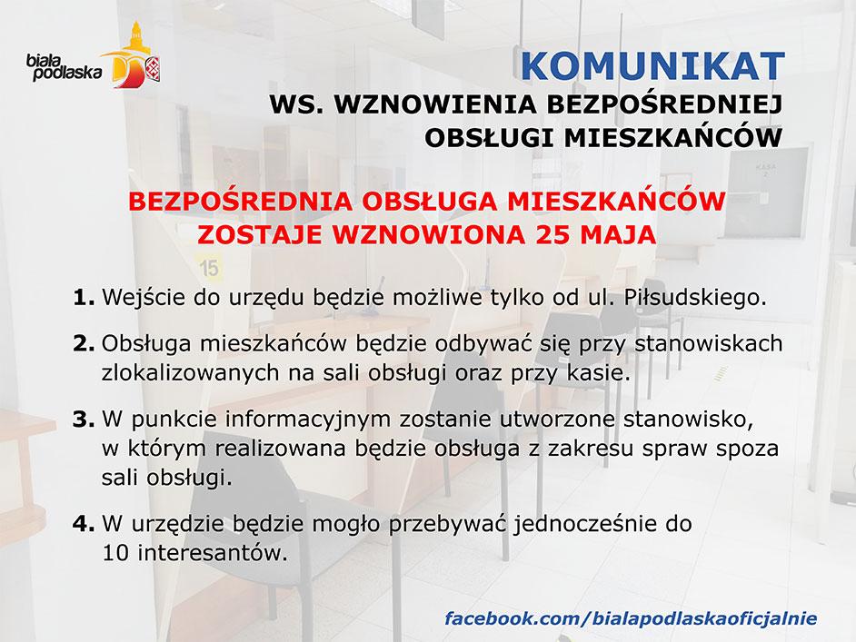 Komunikat w sprawie wznowienia bazpośredniej obsługi mieszkańców w Urzędzie Miasta Białodlaska od 25 maja 2020