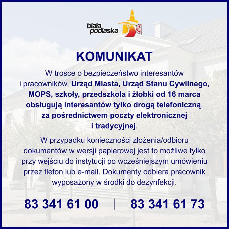 Komunikat w sprawie zmiany trybu pracy Urzędu Miasta, Urzędu Stanu Cywilnego i Miejskiego Ośrodka Pomocy Społecznej